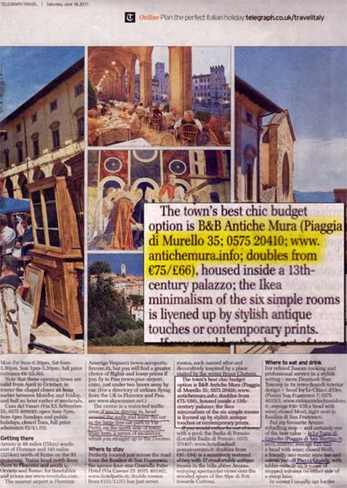 Antichemura Bed and Breakfast Arezzo Centro Storico Pubblicazione Telegraph